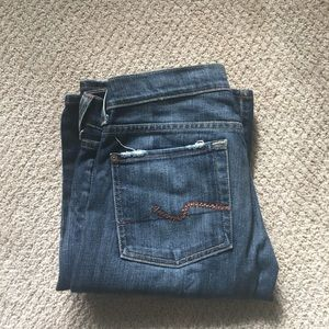 7 for all mankind orange rhinestone detail jeans